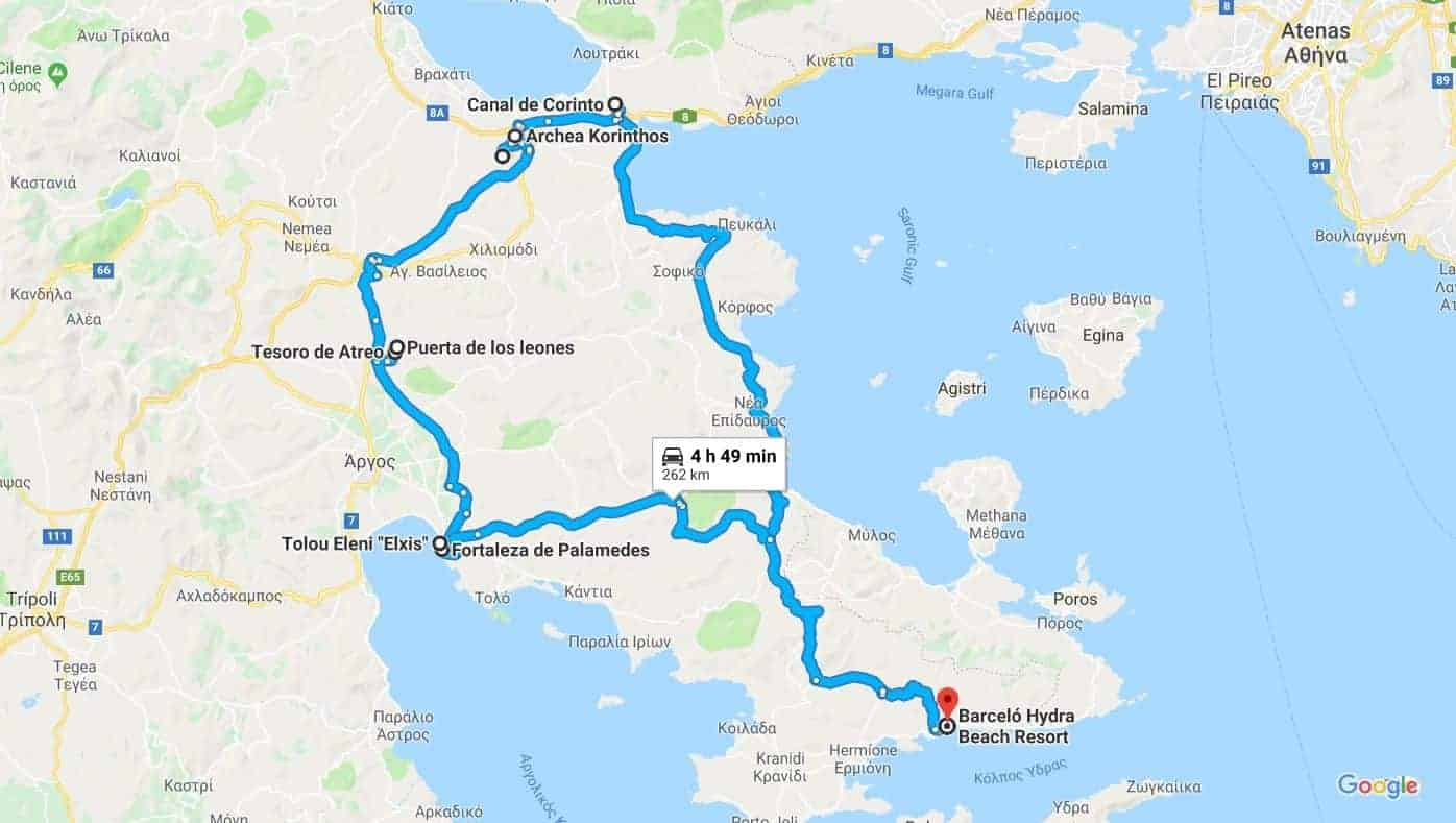 Mapa Ruta Peloponeso 1 dia